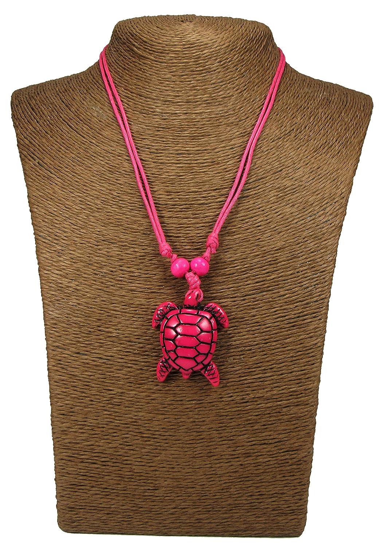 カメのネックレス – Coqui Taino (タイノ族のカエル) とTaino Sun (タイノ族の太陽) 付き – カメのペンダント B0744YCHSQ ピンク ピンク