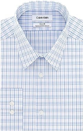 Calvin Klein Dress Shirts Non Iron Slim Fit Stretch Check Camisa de Vestir para Hombre