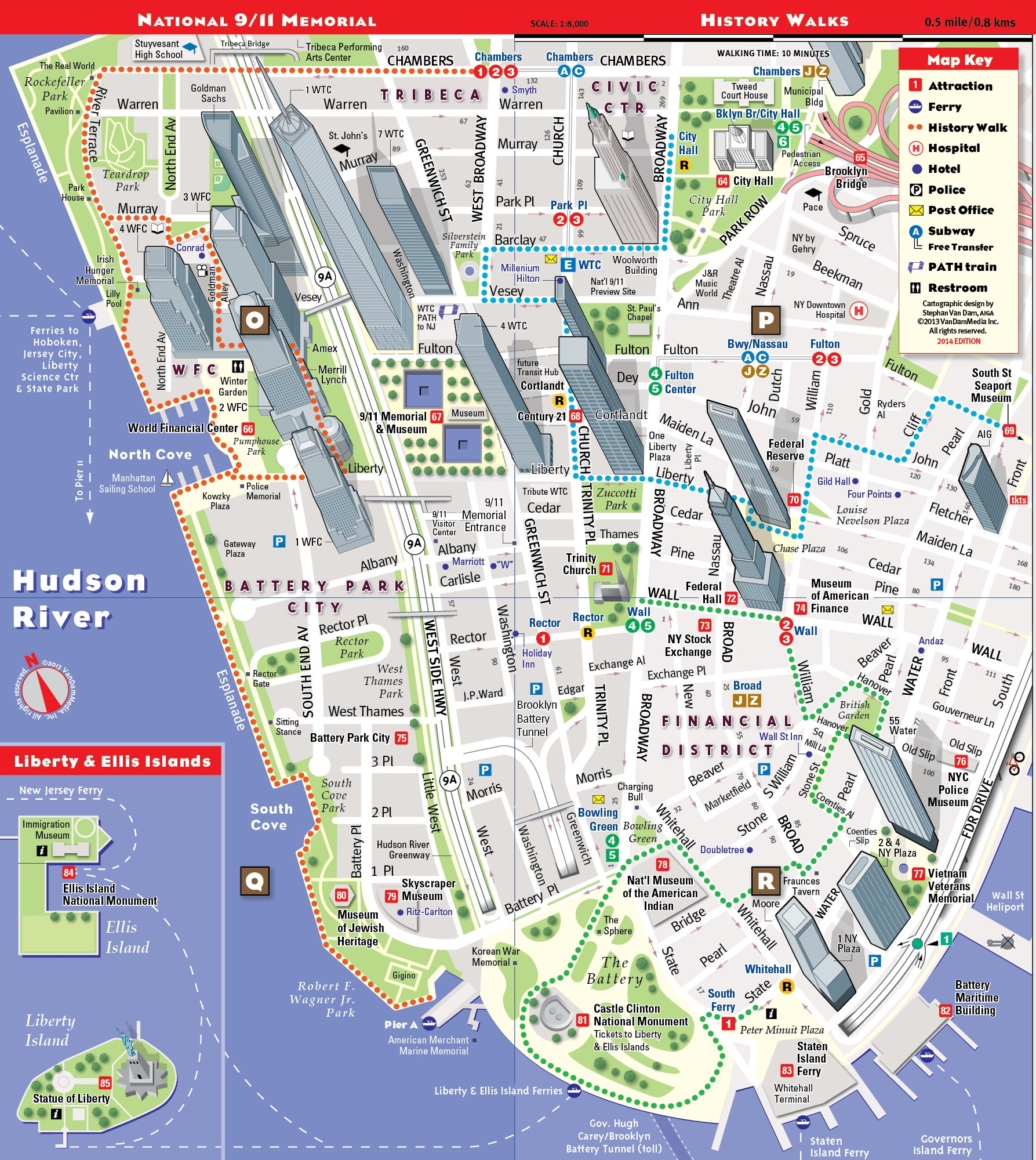 StreetSmart NYC Map by VanDam Laminated City Street Map of