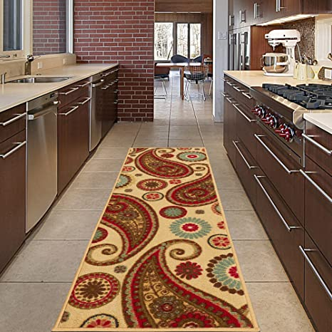 Diagona Designs Contemporary Paisley Design Non-Slip Kitchen / Bathroom /  Hallway Area Rug Runner, 20\