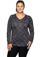 RBX Active Women's Plus Size Space Dye Long Sleeve V-Neck Shirt