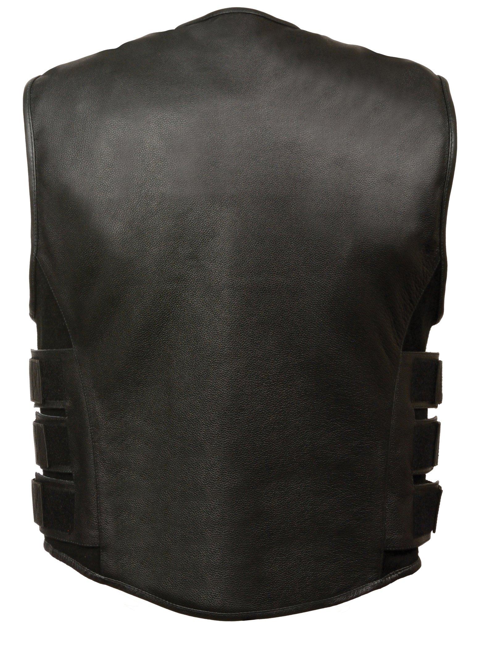 Men's Leather SWAT Style Vest | Premium Natural Buffalo Leather | Patch Access Lining, New Outseam Gun Pocket, Adjustable Side Straps, Zipper Front Closure | Black Biker Vest (Black, 3X-Large) by The Bikers Zone (Image #3)