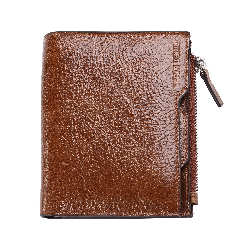 02a6947ad144 BISON DENIM Bifold Wallet Slim Thin Mens Genuine Leather Front Pocket  Wallets Credit Card Holder