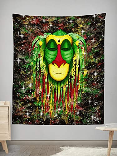 Electro Threads Hand-Printed Wall Tapestry, Psychedelic Wall Art LG 60 x80 Rasta Rafiki