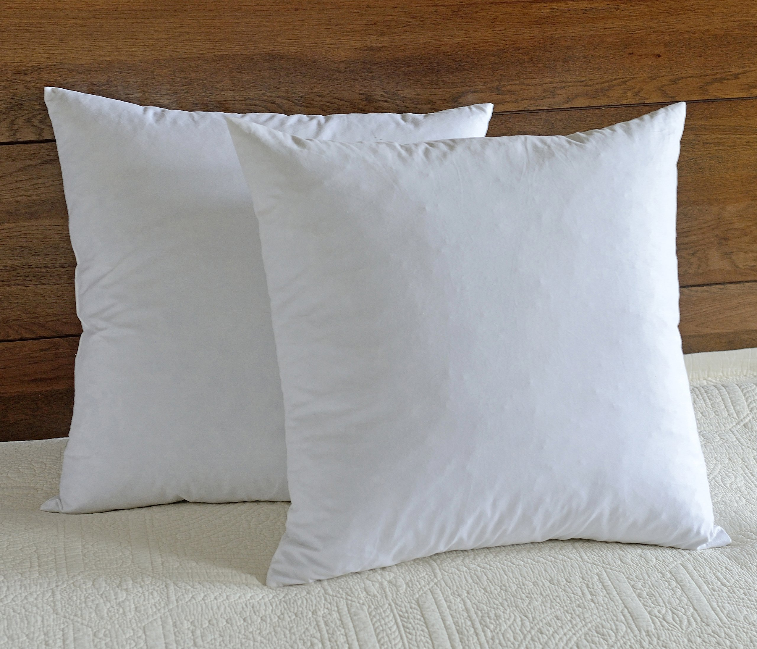 downluxe Feather Pillow Inserts (Set of 2) - 26x26 Square Euro Pillow with 100% Cotton Fabric