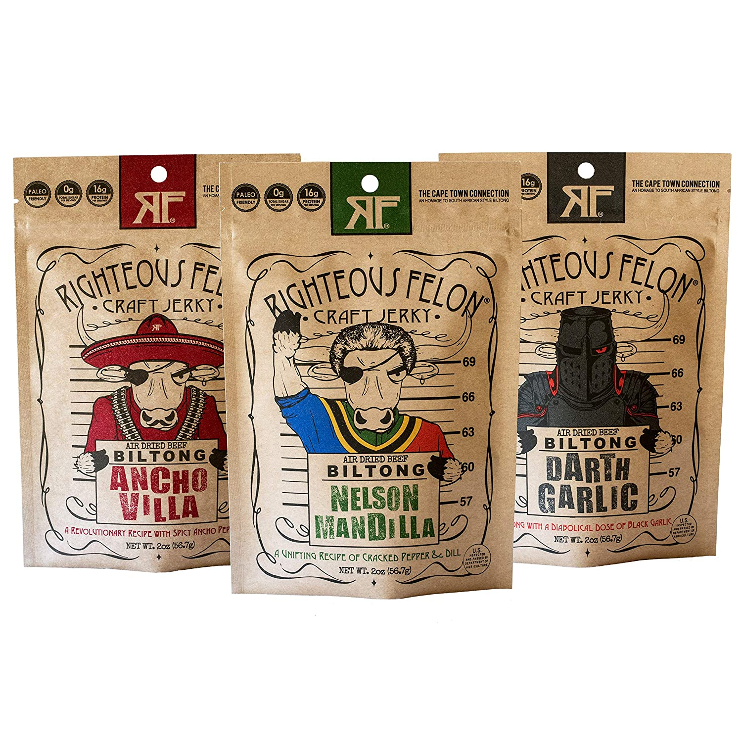 Righteous Felon Biltong Beef Jerky | Keto, Paleo, Gluten Free, High Protein | Hormone Free All Natural South African Style Biltong, No Artificial Flavors, Low Carb Snack | 3 Count (2oz bags)