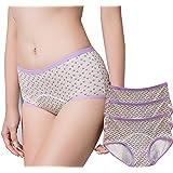 Anna & Eric 2 Pack Women's Cotton Menstrual Period Panties Postpartum Leakproof Briefs Protective Underwear