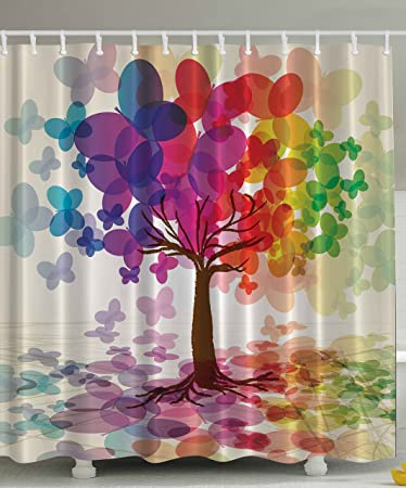 Abstract Art Shower Curtain Large Colorful Spring Season Tree With  Butterflies Reflection Leaves In Rainbow Colors