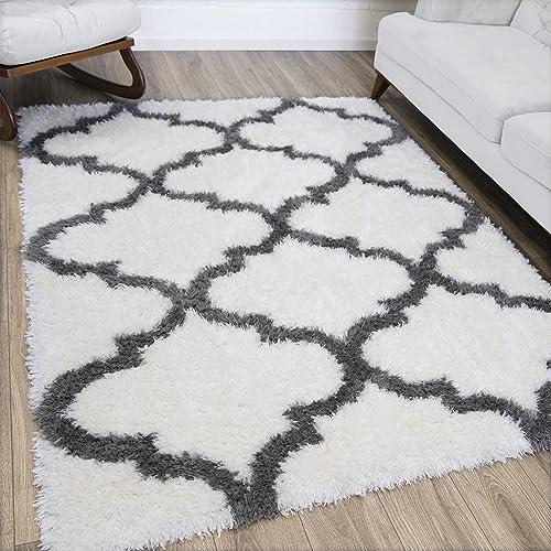 Ottomanson Flokati Trellis Design Shag Area Rug, 5 3 x 7 , White