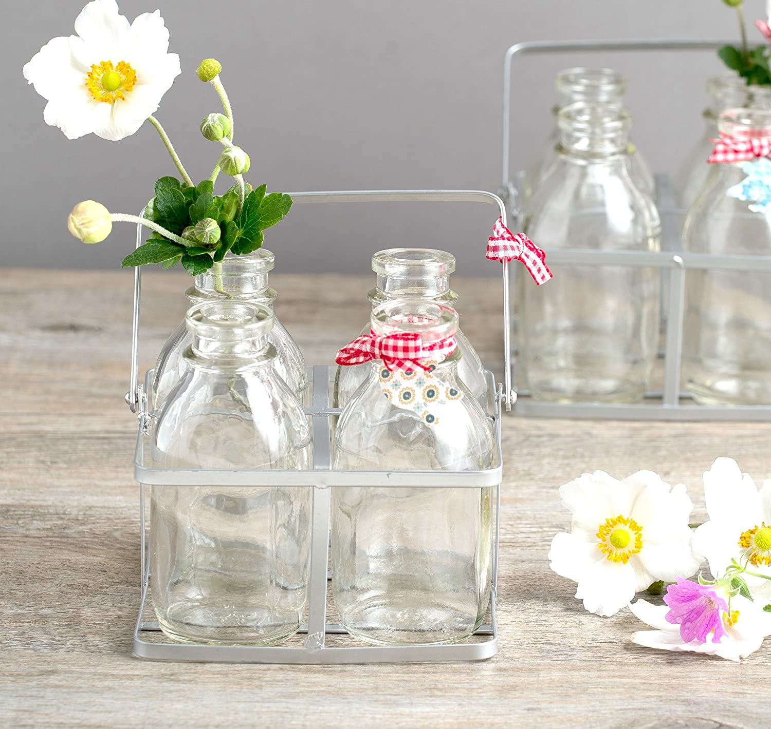 Set of 4 mini milk bottles vases in a vintage style metal crate set of 4 mini milk bottles vases in a vintage style metal crate for home treat weddings amazon kitchen home reviewsmspy