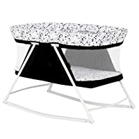 Dream On Me Palm 3 in 1 Bassinet Playpen | Cradle | Portable Pack N Play | New Born to Toddler, Black and White