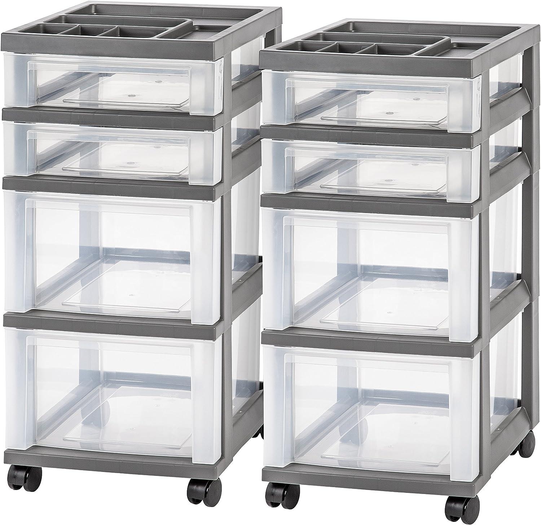 Gray IRIS 4-Drawer Rolling Storage Cart with Organizer Top