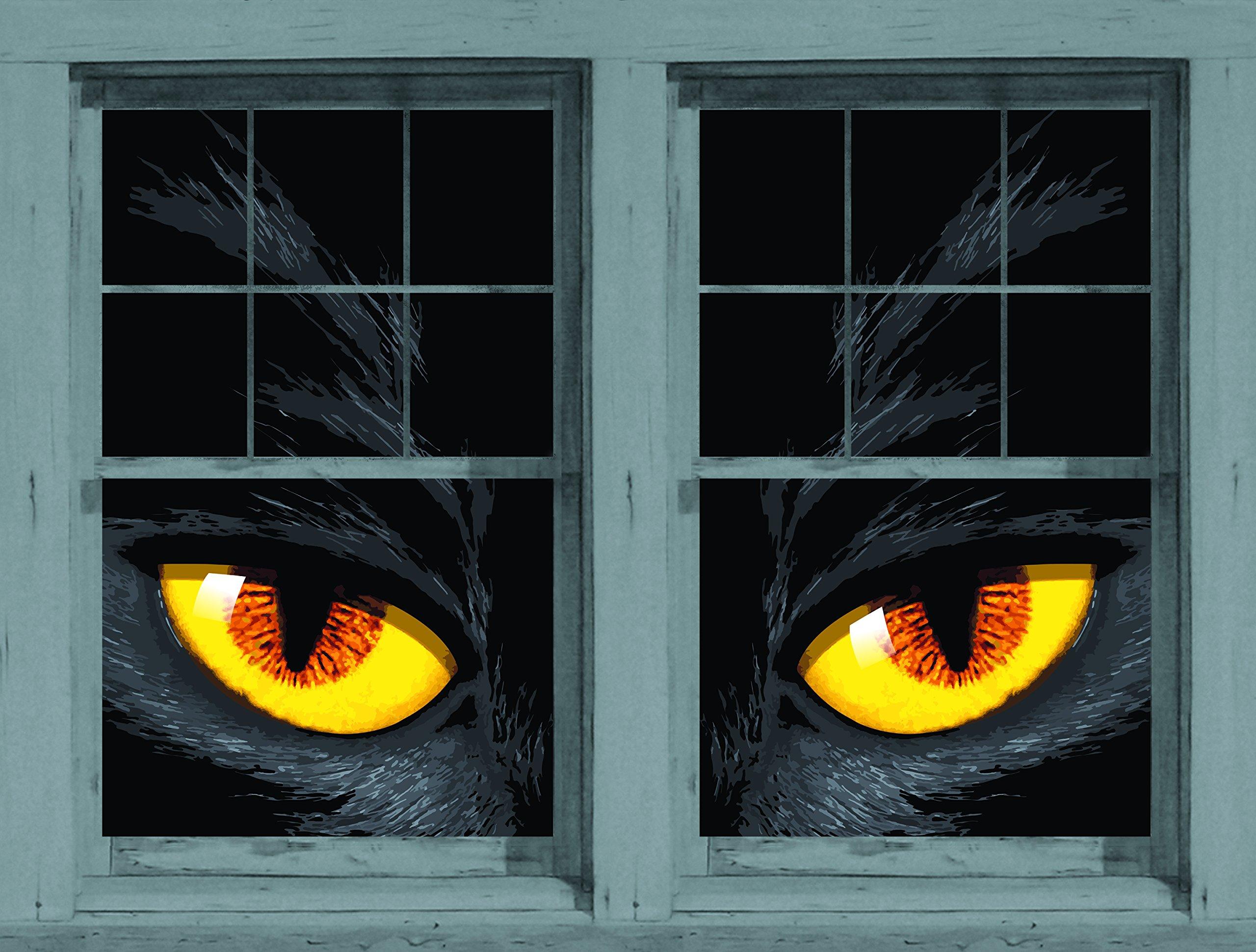 WOWindow Posters Scary Jack Halloween Window Decoration (2