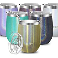 Stainless Steel Wine Tumbler Insulated - THILY T2 Triple-Insulated Stemless Travel Wine Glass Set with Sealable Lid and Reusable Straw, Keep Cold or Hot for Wine, Coffee, Cocktails