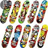 10 Pieces Mini Skateboards Finger Skate Fingerboard Toy Fingertip Movement Board for Adults Boys Girls, Random Pattern(10 Pieces)