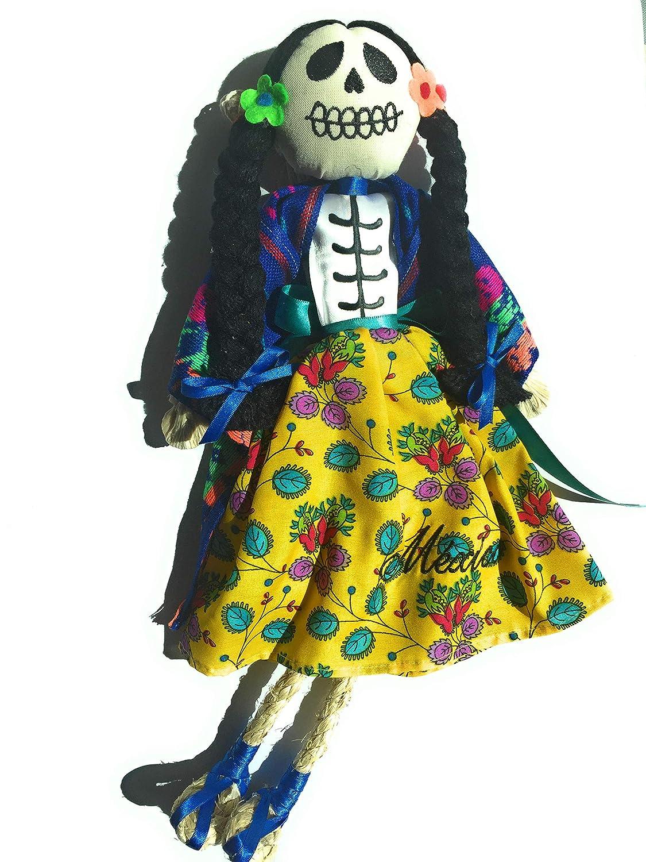 Mexican Handmade Grahmart /並/行/輸/入/品 Frida Kahlo Orange-Purple Catrina Doll