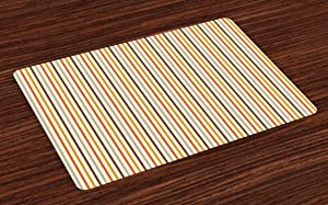 Ambesonne Vintage Place Mats Set of 4, Retro Nostalgic 60s 70s Fashion Stripes Vertical Pattern Vintage, Washable Fabric Placemats for Dining Room Kitchen Table Decor, Orange Mustard Dust Cream