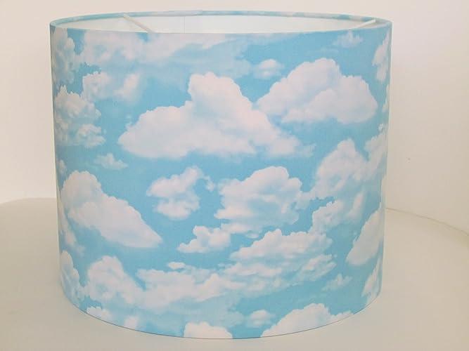 Handmade sky blue cloud fabric drum lampshade lightshade amazon handmade sky blue cloud fabric drum lampshade lightshade mozeypictures Images