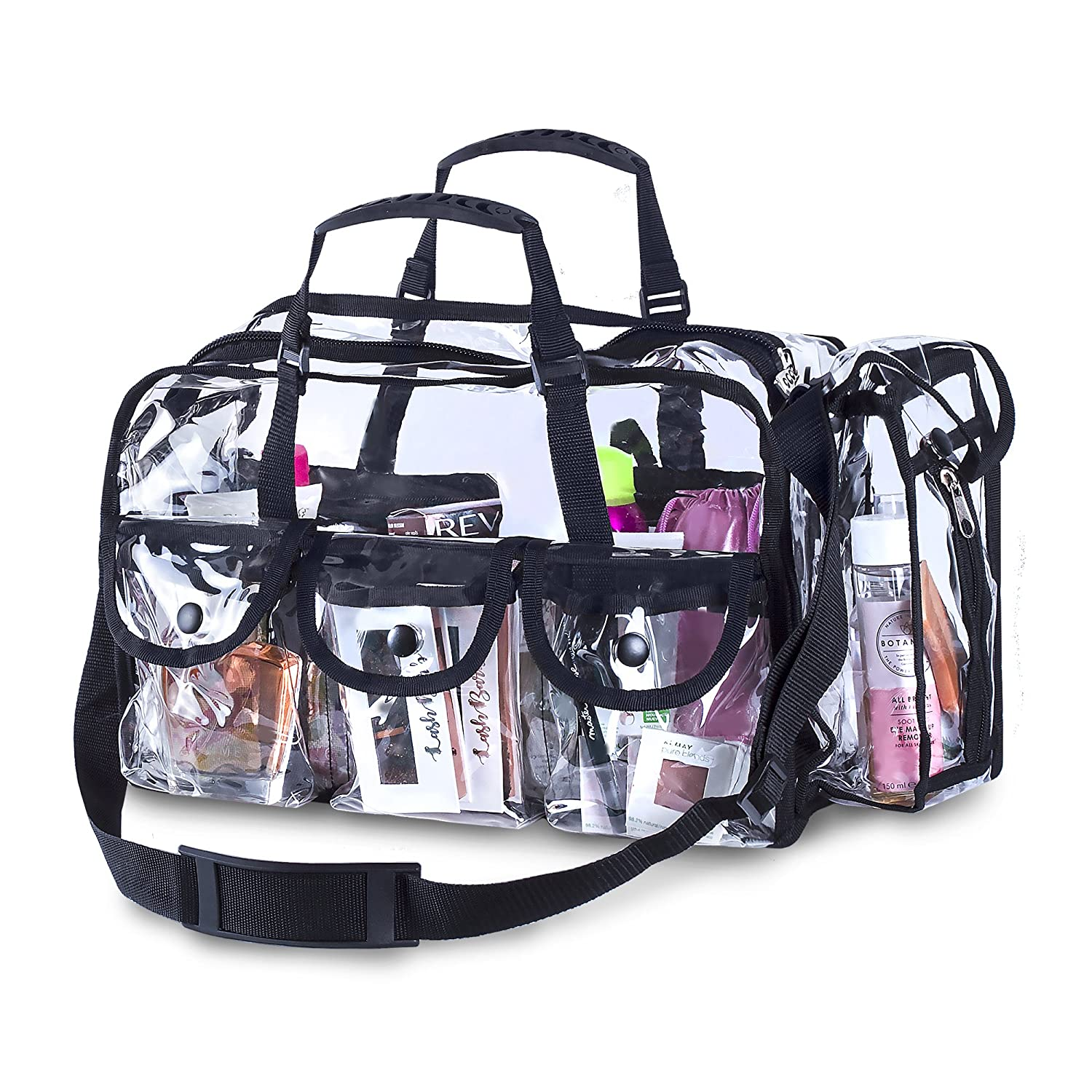 Premium Clear Makeup Organizer PVC Toiletry Bag 17 inch x 9 inch x 10 inch Transparent Cosmetic Bag for Women Sturdy Zipper and 4 External Pockets for Toiletries Adjustable Strap