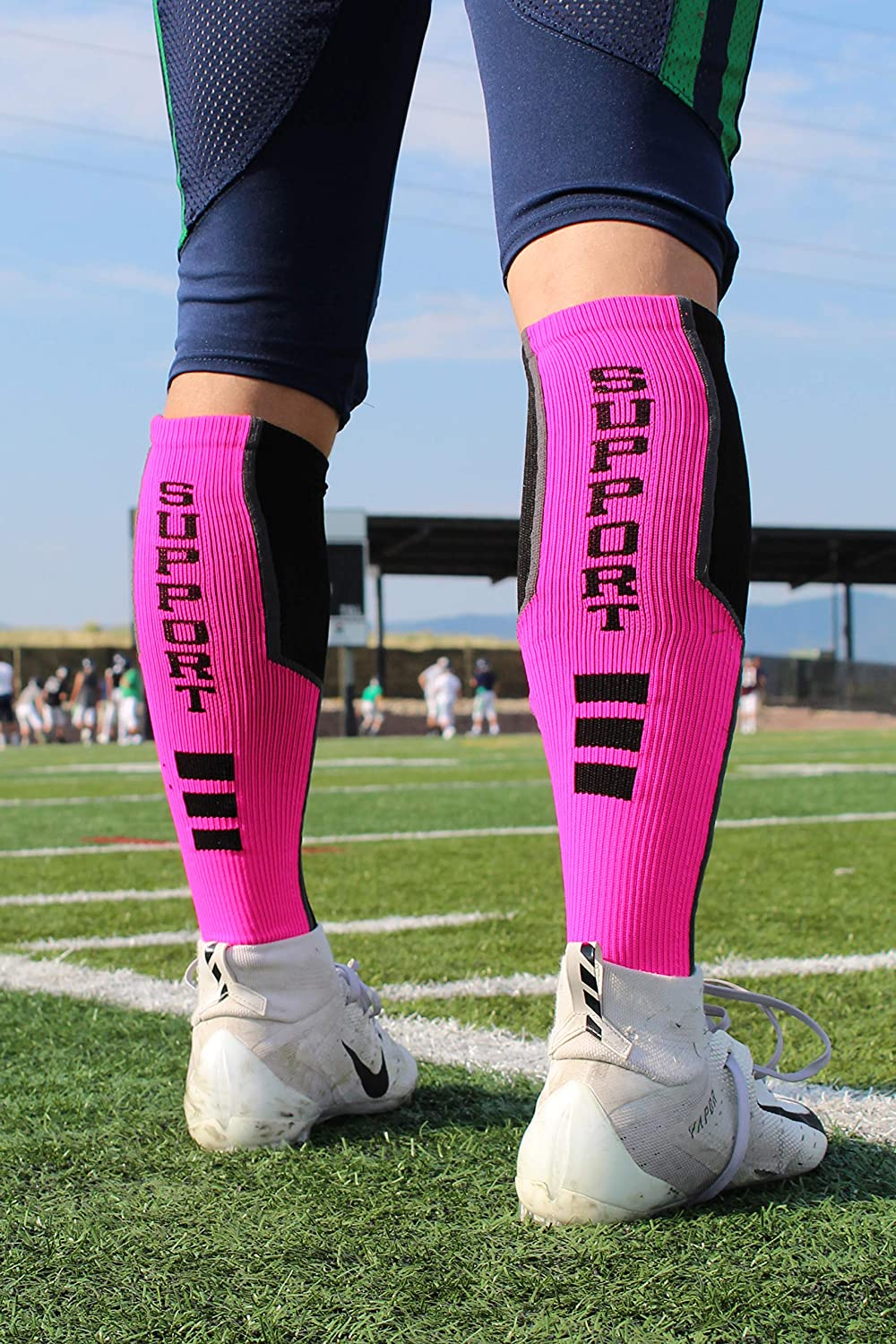 Pink Ribbon Breast Cancer Awareness Support Athletic Over the Calf Socks