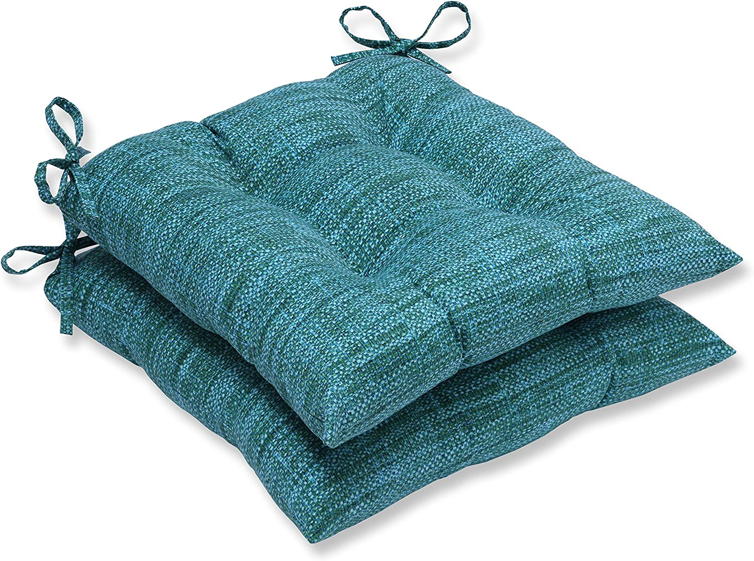 "Pillow Perfect Outdoor/Indoor Remi Lagoon Tufted Seat Cushions (Square Back), 19"" x 18.5"", Blue, 2 Count"