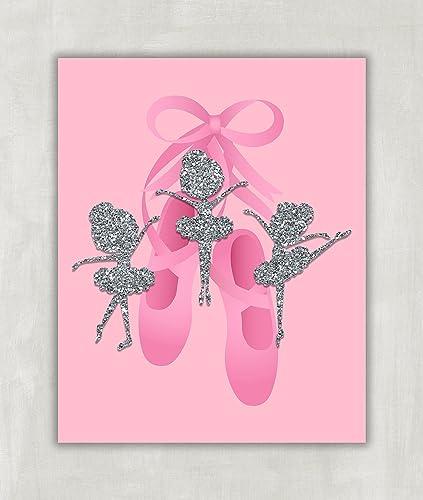 Ballerina Wall Art Pink And Silver Glitter Ballet Slippers Dance Print 8x10 Unframed