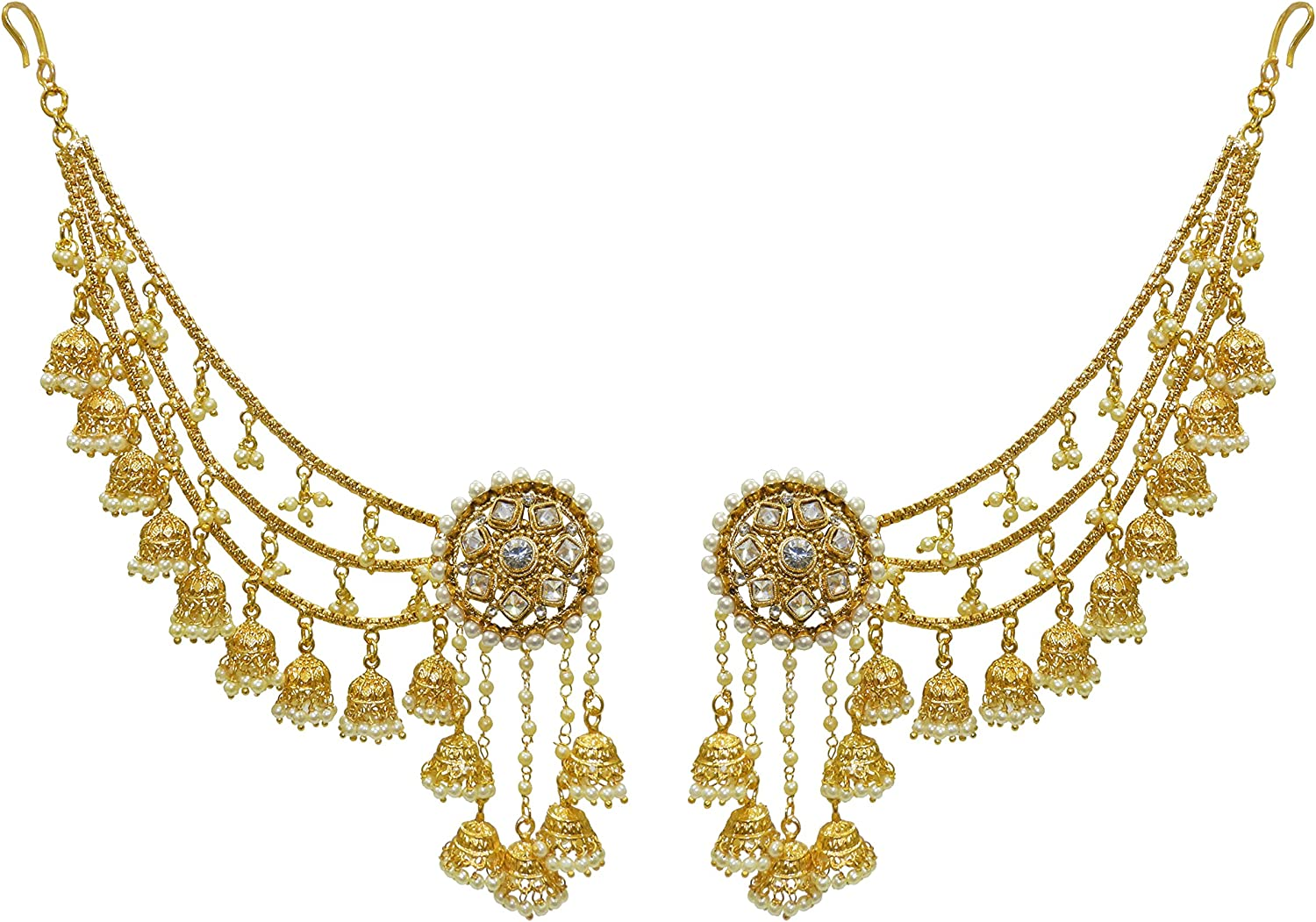 Indian  Gold Plated Pearl Wedding Necklace Earring Jhumki Bangle Fashion Jewelry