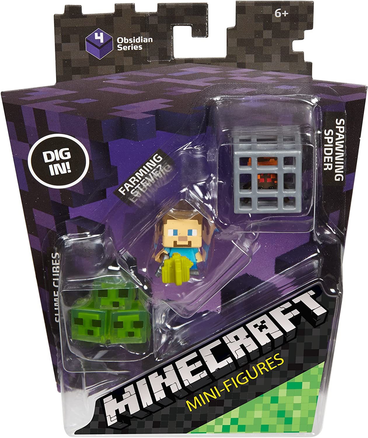 Minecraft Mini Figure 3-Pack, Farming Steve, Spawning Spider & Slime Cubes by Mattel: Amazon.es: Juguetes y juegos
