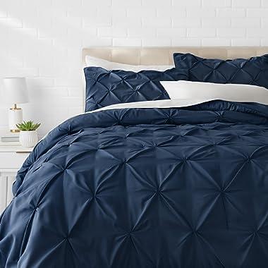 AmazonBasics Pinch Pleat Comforter Set - Full/Queen, Navy Blue
