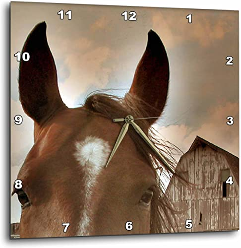 3dRose Horse and Barn in Sepia – Wall Clock, 15 by 15-Inch DPP_12307_3