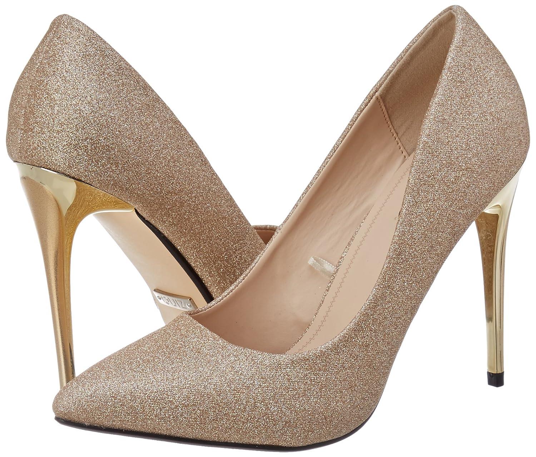 Quiz Glitter Court Sandali con Cinturino alla Caviglia Donna Oro