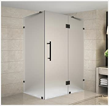 Aston Avalux Completely Frameless Shower Enclosure In Frosted Glass 42 X 36 X 72 Oil Rubbed Bronze Amazon Com