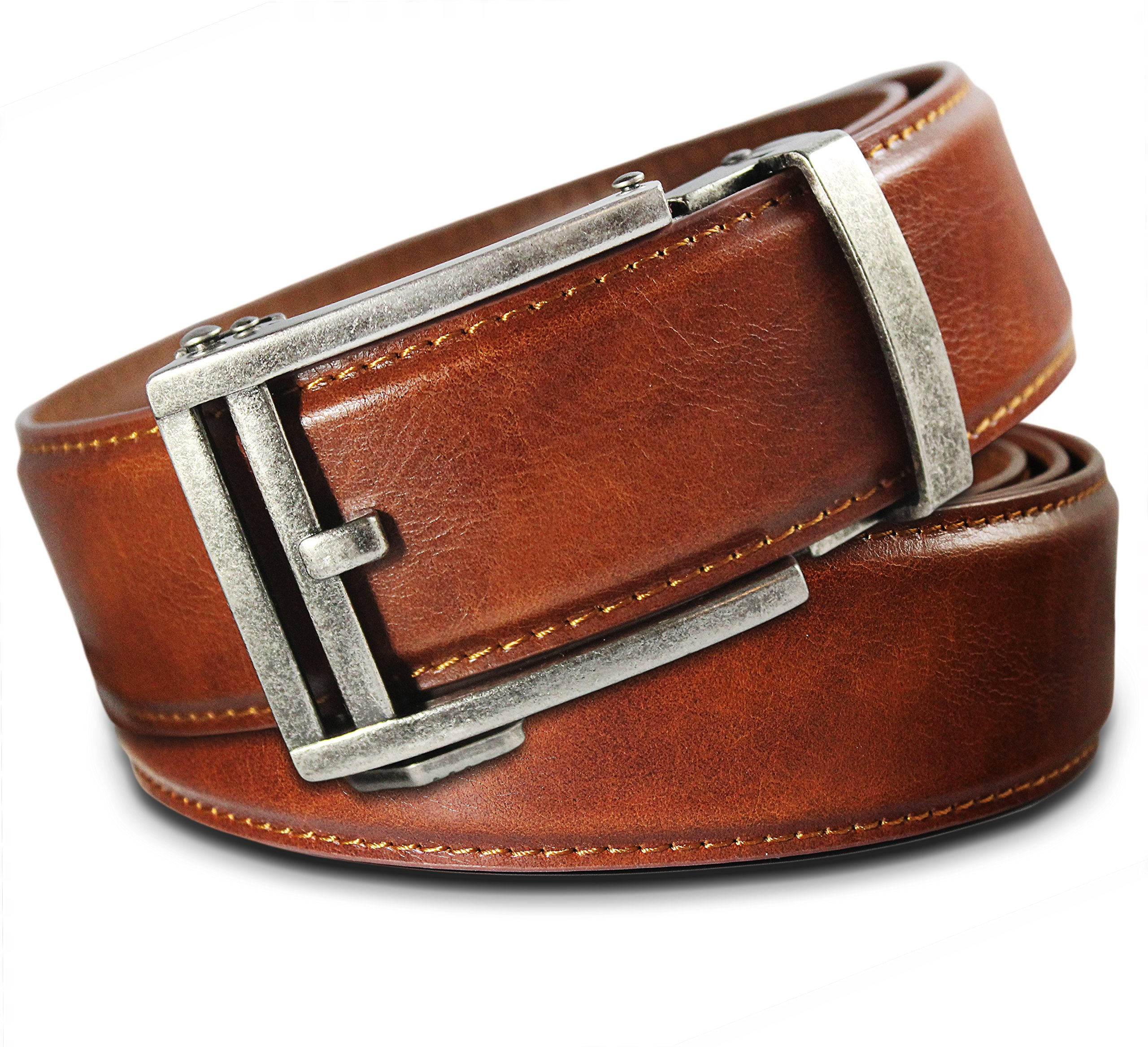 Men's Leather Ratchet Click Belt - Hemingway Antique Silver Buckle w/Saddle Tan Leather Belt (Trim to Fit: Up to 35'' Waist)
