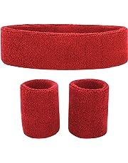 73ffb85e15e1a8 Fussox Schweißband Set Stirnband Sport Handgelenk und Kopf Schweissband  Baumwolle Schweißbänder
