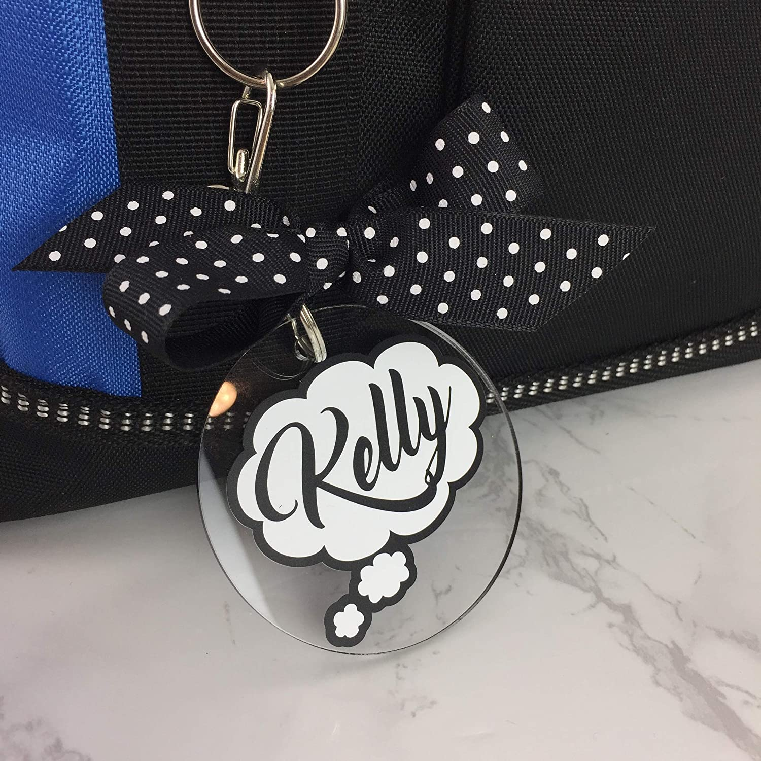 Thought Bubble Bag Tag Personalized with Your Name and Your Colors