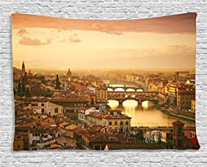 Ambesonne Wanderlust Decor Collection, Bridge Ponte Vecchio Italy Bird Eye Sunset View Castle Houses Historic Cityscape , Bedroom Living Room Dorm Wall Hanging Tapestry, 80W X 60L Inch