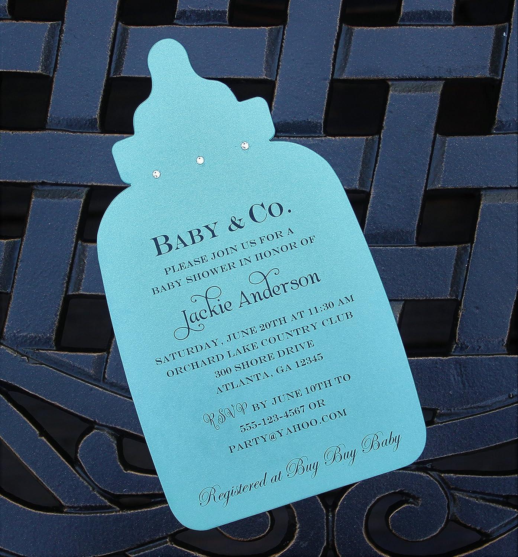Amazon.com: Set of 10 Tiffany Blue Baby Bottle Baby Shower ...