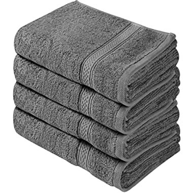 Utopia Towels Cotton Large Hand Towels (4 Pack, Grey - 16 x 28 Inches) - Multipurpose Bathroom Towel set for Hand, Face, Gym and Spa