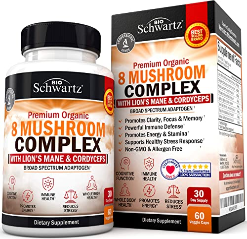 Premium Organic Mushroom Complex Supplement with Lions Mane Cordyceps- Nootropic for Focus, Clarity, and Stress Relief – Promotes Energy and Stamina – Supports Immune Response Memory – 60 capsules