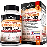 Premium Organic 8 Mushroom Complex Supplement with Lions Mane & Cordyceps- Nootropic Capsules for Focus, Clarity, and…