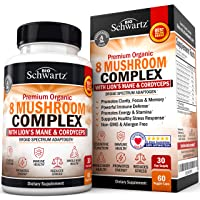 Organic Mushroom Complex with Lions Mane & Cordyceps - Beta Glucan Supplement for Immune Response & Memory Support - Nootropic for Energy, Focus, Clarity, Stamina, and Stress Relief - 60 Capsules