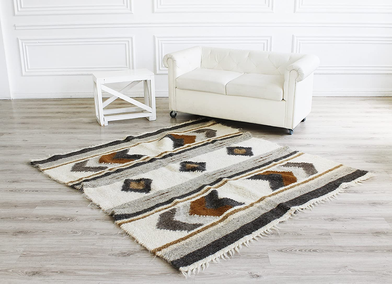 Wool Rug Brown Handmade Carpet Rug Geometric Pattern Living Room Area Rug Rustic Home Decor