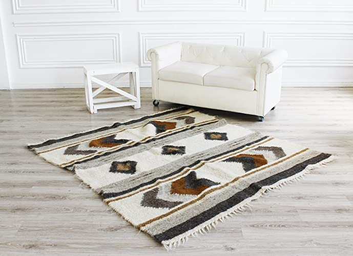 Amazon Com Wool Rug Brown Handmade Carpet Rug Geometric Pattern