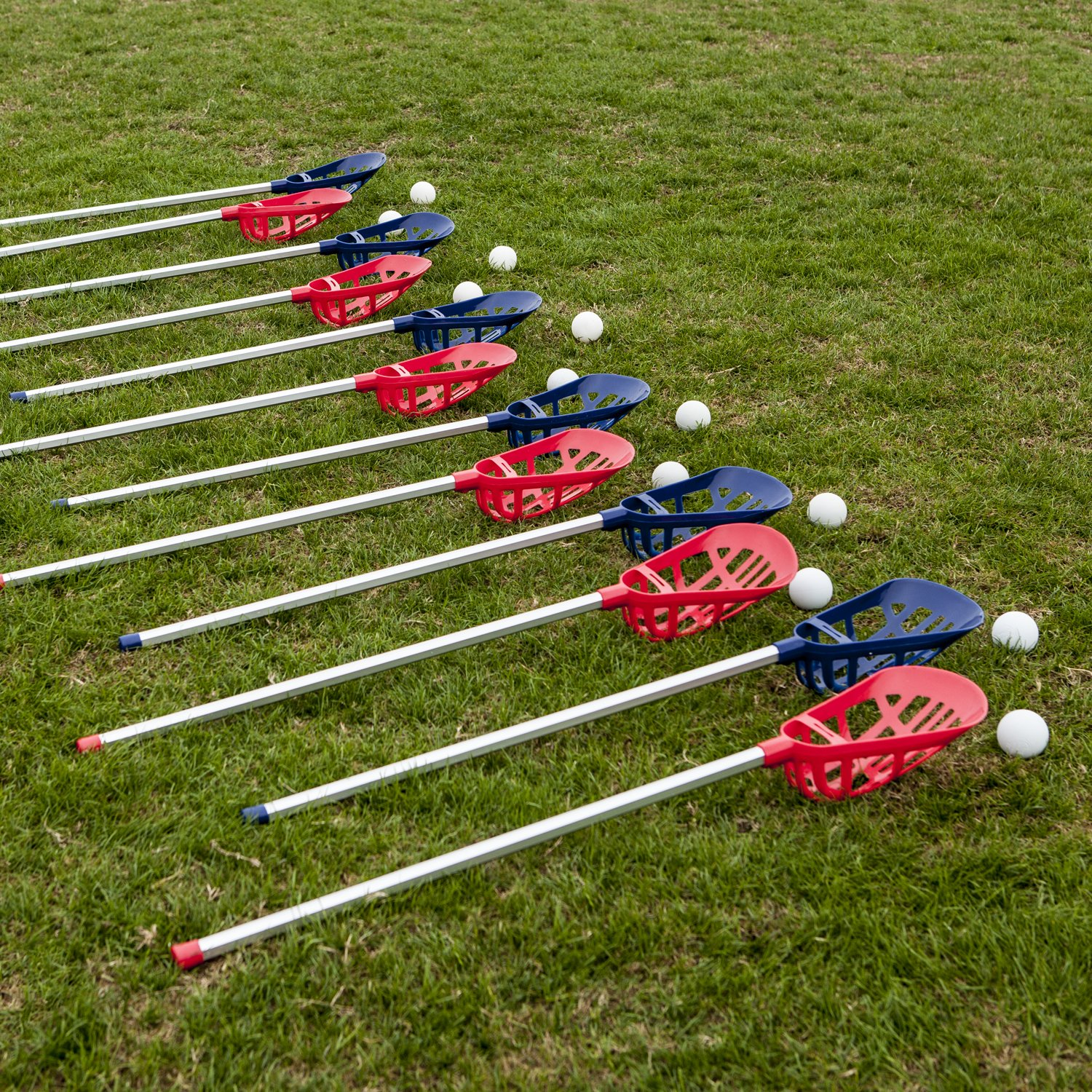 Champion Sports Soft Lacrosse Set: Training Equipment for Boys, Girls, Kids, Youth and Amateur Athletes - 12 Aluminum Sticks and 6 Vinyl Balls for Indoor Outdoor Use by Champion Sports (Image #5)