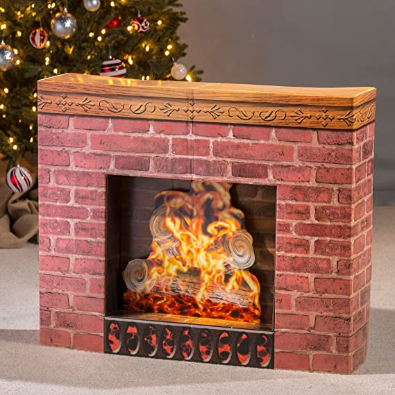 Fake Christmas Fireplace.Shindigz Christmas Fireplace Cardboard Cutout Party Decoration Prop Standup Background Decor Scene Setter
