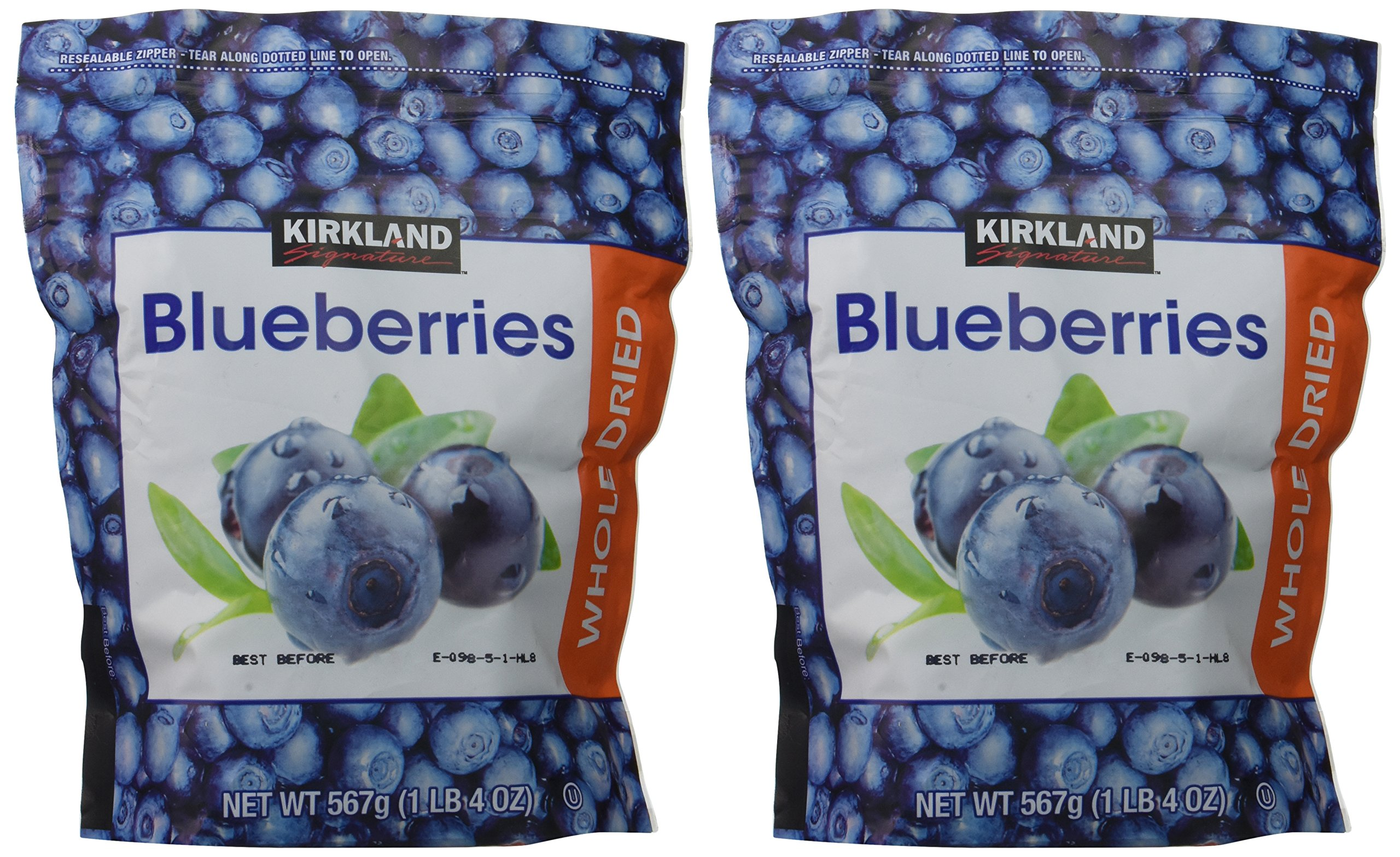 Kirkland Signature Whole Dried Blueberries: 2 Bags of 20 Oz (1 Bag is 1LB 4 OZ which is 20 Ounces) by Kirkland Signature