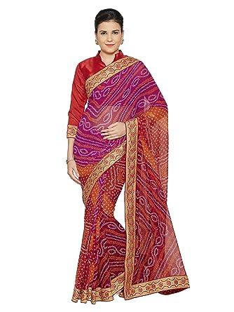8523f90508 MirchiFashion Faux Georgette Bandhani Bandhej Indian Party Wear Saree Dress  for Women (4131_Red,Pink,Orange): Amazon.co.uk: Clothing