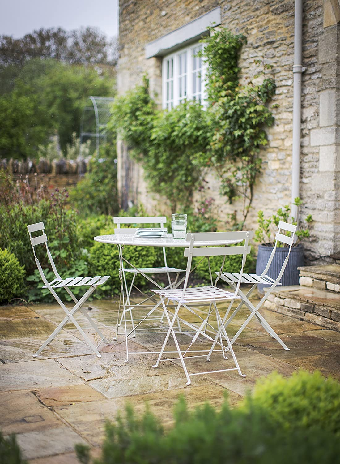 Garden Trading Large Rive Droite Bistro Set of Table and 4 Chairs - Clay/Natural
