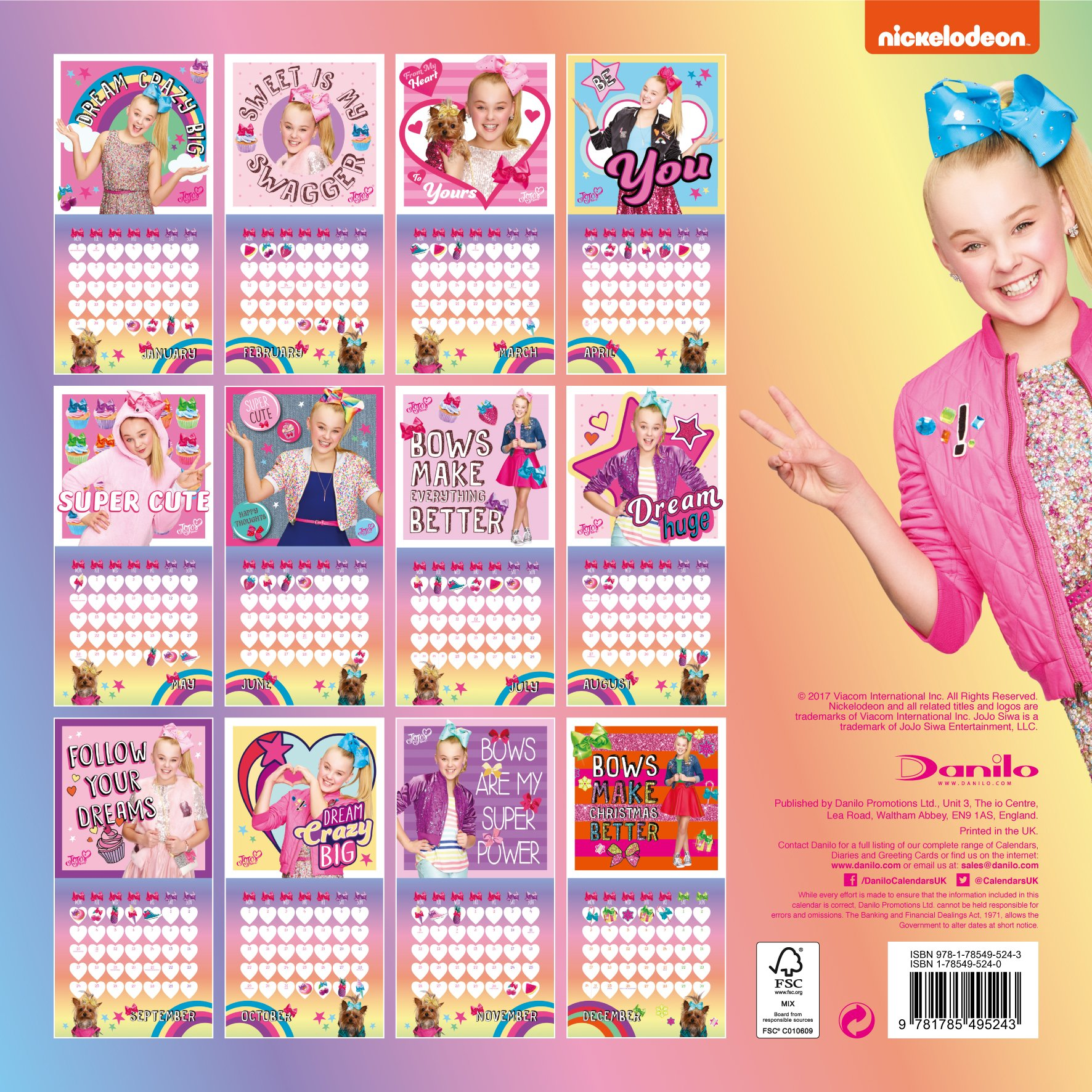 Jojo Siwa Official 2018 Calendar Square Wall Format 9781785495298