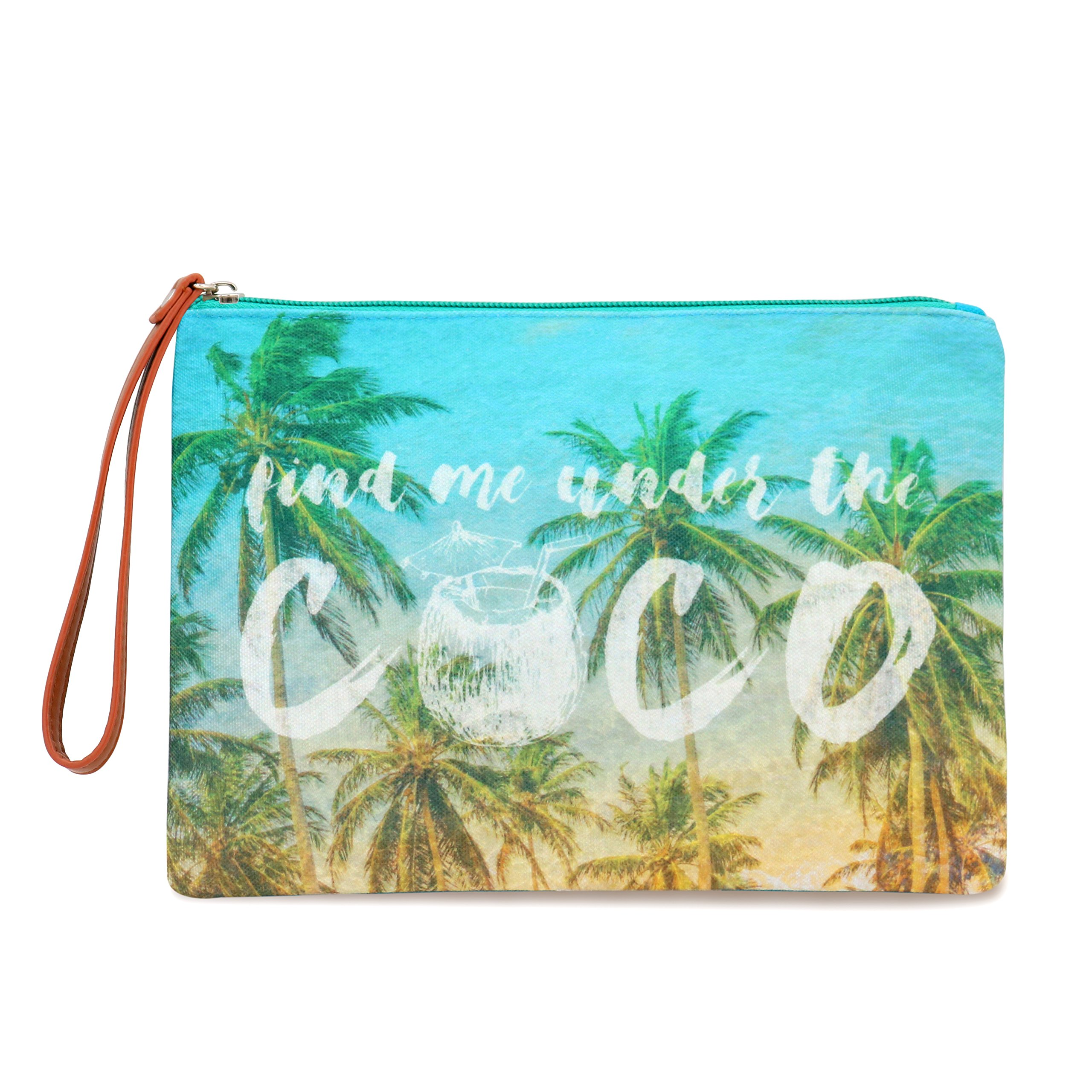 Seven Island Women Leather Canvas Cute Tropical Pineapple Print Unisex Portable Travel Evening Cosmetic Makeup Zipper Purse Wrist Pouch Clutch